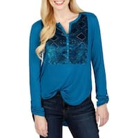 Lucky Brand Womens Casual Top Velvet Bib