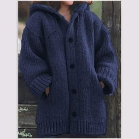 Button Down Hooded Knitted Cardigan Plus Size Outerwear Coat