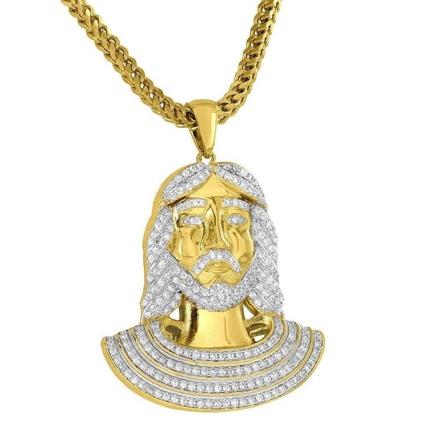 Designer Mens Egyptian Jesus Pharaoh Pendant Simulated Diamonds 18K Gold Tone Free Franco Chain