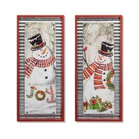 Set of 2 Red and White Christmas Decorative Snowman Wall Frames 31.5""