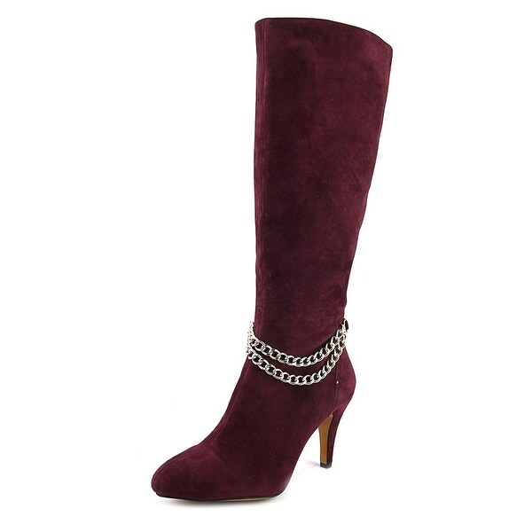 Vince Camuto Valli Women Round Toe Suede Burgundy Knee High Boot