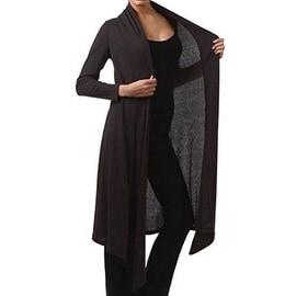 Funfash Women Plus Size Gothic Black Ribbed Long Cardigan Duster Sweater Jacket