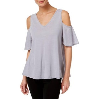 Calvin Klein Performance Womens Pullover Top Open Shoulder Pleated - XL