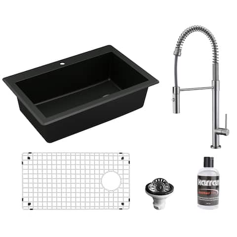 Karran All in One Drop-In Quartz Composite 33 in. Single Bowl Kitchen Sink in Black with Faucet KKF220 in Stainless Steel