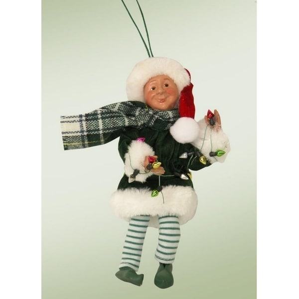 "6.5"" Kindles ""Tangle with Light String"" Posable Elf Figure Christmas Tree Ornament"
