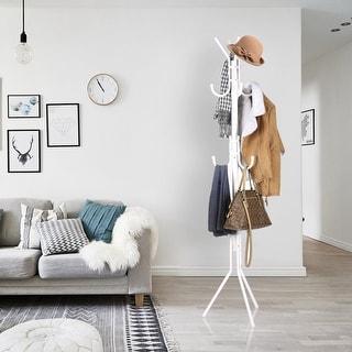 LANGRIA Metal Coat Rack Tree Hat Hanger Holder Organizer White Modern