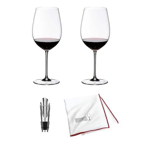Riedel Sommeliers Bordeaux Grand Cru Wine Glass (2-Pk) with Wine Stopper Bundle