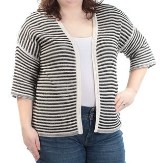 Womens Black Ivory Striped 3/4 Sleeve Open Sweater Size XXL