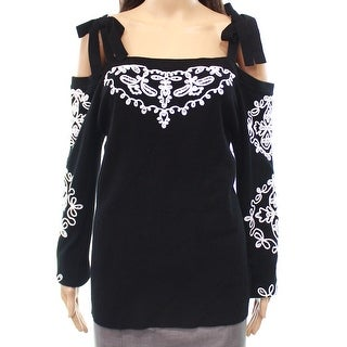 INC White Womens Medium Embroidered Pullover Sweater