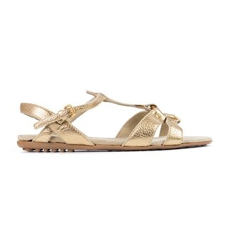 Car Shoe By Prada Metallic Gold Leather Caged Sandals