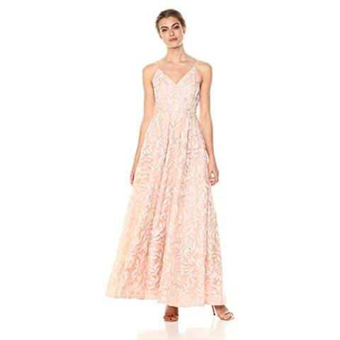 Calvin Klein Women's Sleeveless Embroidered V Neck Ball Gown, Petal, 8