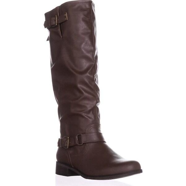 XOXO Moira Zip-Up Knee-High Boots, Brown
