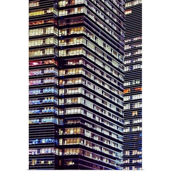 """Office buildings at night, Singapore"" Poster Print"