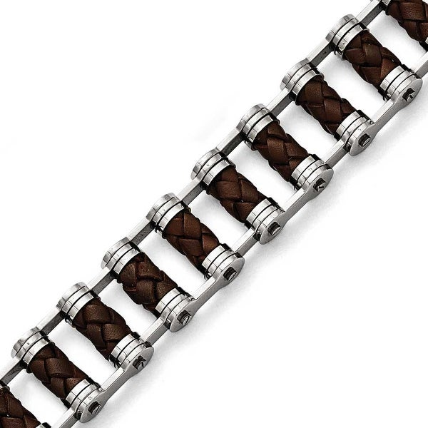 Chisel Stainless Steel Brown Leather 8.75in Bracelet