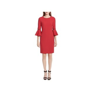 Calvin Klein Womens Special Occasion Dress Bell Sleeves Above Knee