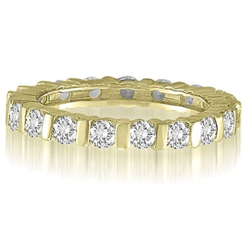 1.25 cttw. 14K Yellow Gold Bar Set Round Cut Diamond Eternity Wedding Band Ring