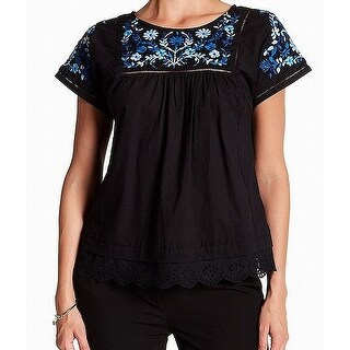 Rebecca Taylor Black Blue Floral Embroidered Crochet 2 Knit Top