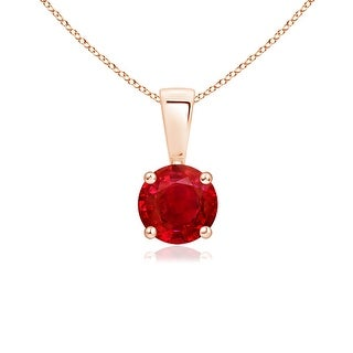 Angara Prong Set Round Ruby Solitaire Pendant