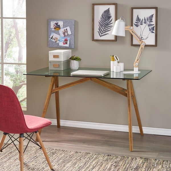 Croxton Mid-Century Acacia Wood Desk by Christopher Knight Home. Opens flyout.
