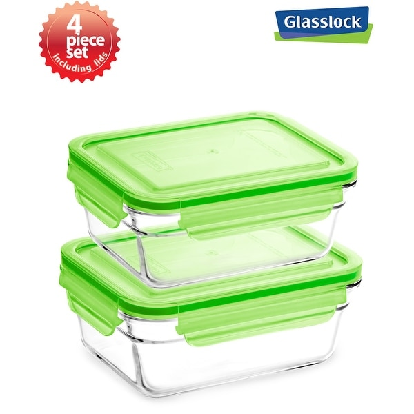 Shop Glasslock 4 Piece Rectangular Food Container Storage Set Free