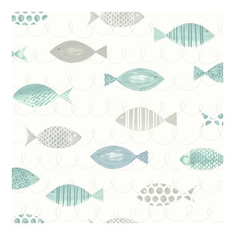 Key West Teal Sea Fish Wallpaper - 20.5 x 396 x 0.025