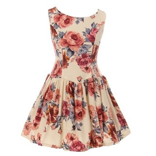 Kiki Kids Girls Ivory Floral Print Comfortable Sleeveless Bow Dress 8-12 (3 options available)
