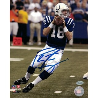 Peyton Manning Signed 8x10 Photograph NFL Authenticated Mounted Memories - Blue