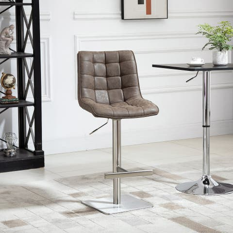 HOMCOM Vintage PU Leather Bar Stool Adjustable Counter Height Bar Chair Swivel Barstool with Back, Footrest for Kitchen Counter