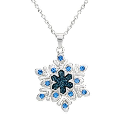Disney Frozen 2 Blue Crystal Glitter Snowflake Silver Plated Necklace