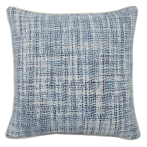 Square Fabric Throw Pillow with Hand Woven Pattern, Blue and White - Blue and White