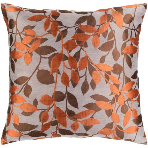 Decorative Skegness Rust 22-inch Leaves Feather Down Filled Pillow