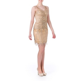 Sue Wong Womens Beaded Knee-Length Cocktail Dress - 2