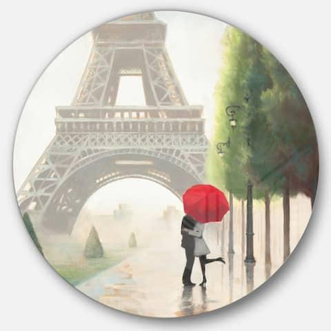 Designart 'Paris Romance Couples' French Country Metal Circle Wall Art