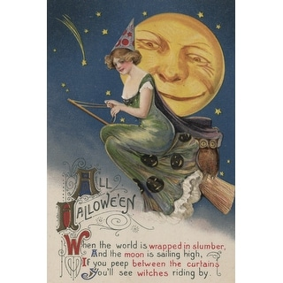 Halloween Greeting Witch in Flight Vintage Holiday (Art Print - Multiple Sizes)