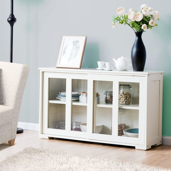 Wooden Buffet Cupboard Kitchen Storage Sideboard Glass Sliding Door. Opens flyout.