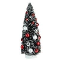 "12"" Frosted Red and Silver Sisal Pine Artificial Christmas Table Top Tree"