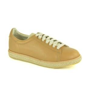 Brunello Cucinelli Mens Tan Leather Jute Low Top Sneakers
