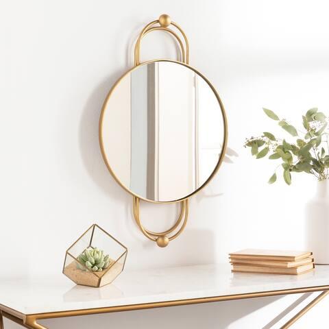 """Linna Glam Art Deco 15x25-inch Round Mirror - 25""""H x 15""""W"""