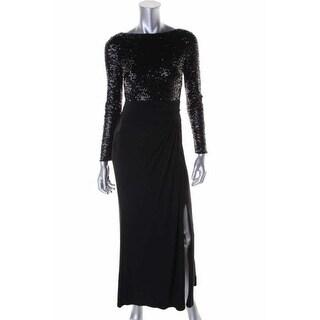 Ralph Lauren Womens Petites Sequined Long Sleeves Evening Dress - 12P