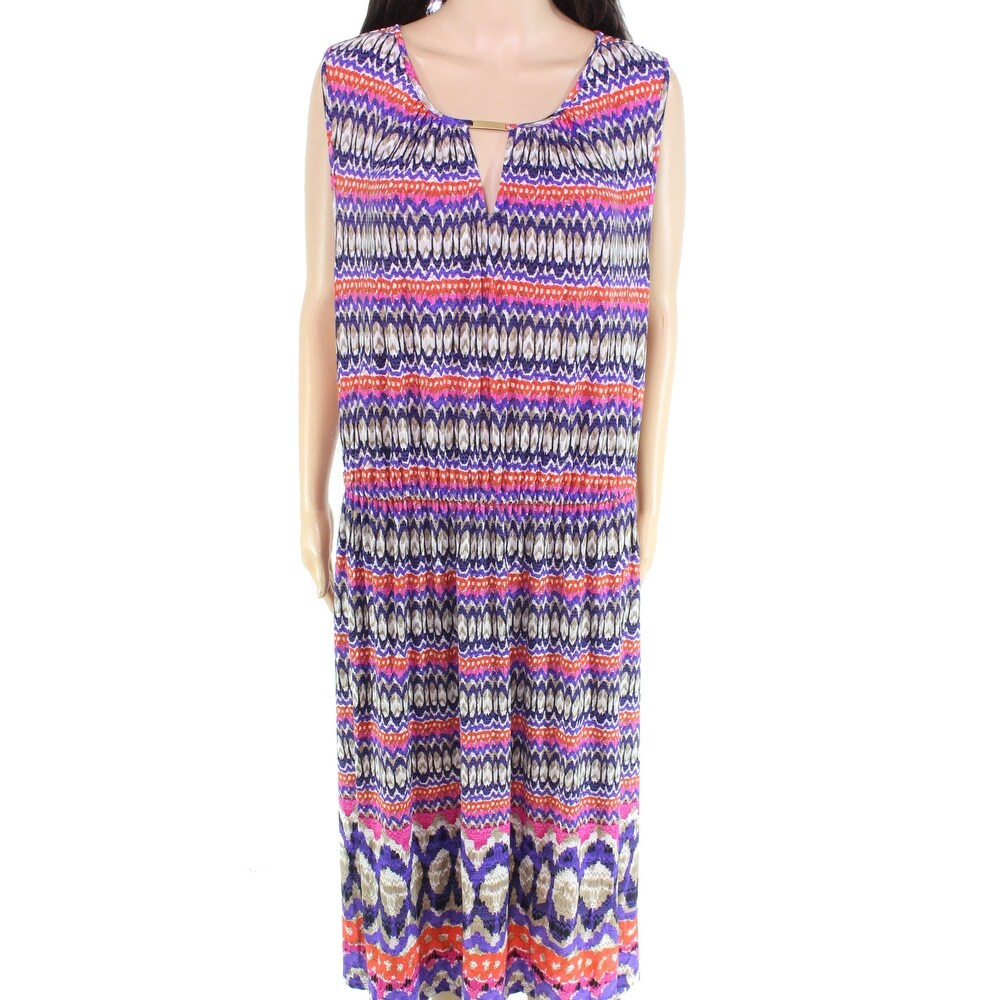 Ruby Rd. Womens Dress Pink Size 1X Plus Tribal Print Maxi Hardware