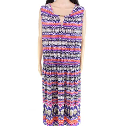 Ruby Rd. Women's Dress Purple Size 2X Plus Maxi Sleeveless Ikat-Print