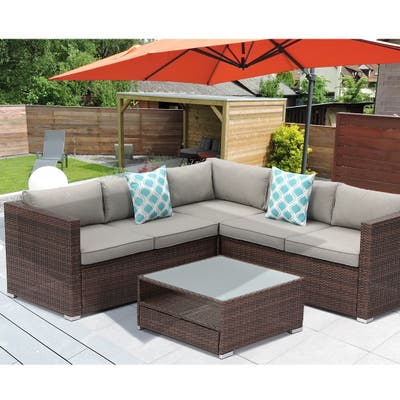 COSIEST 4-piece Patio Furniture Outdoor Wicker sectional Sofa Set with Cushions