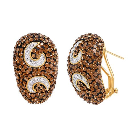Swirl Earrings with Brown & White Crystals in 14K Gold-Plated Bronze