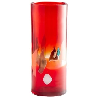 "Cyan Design 09163  Carnival 5-1/2"" Diameter Glass Vase - Red"