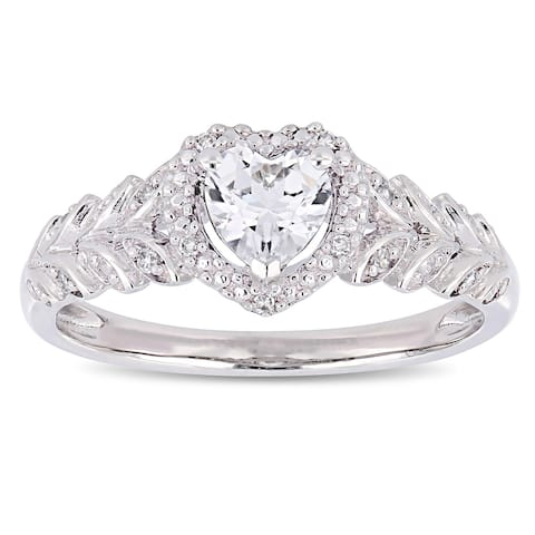 Miadora 10k White Gold Created White Sapphire and Diamond Accent Heart Halo Engagement Ring