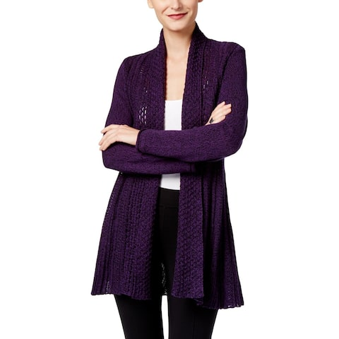 NY Collection Womens Cardigan Sweater Open-Front Pointelle