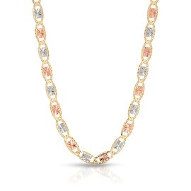 Mcs Jewelry Inc 14 KARAT THREE TONE YELLOW GOLD WHITE GOLD ROSE GOLD LARGE VALENTINO NECKLACE 3 5mm