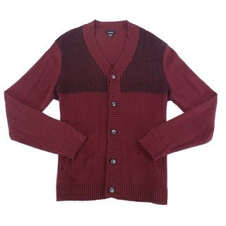 Alfani Port Red Mens Size Small S Marl Knit Ribbed Cardigan Sweater