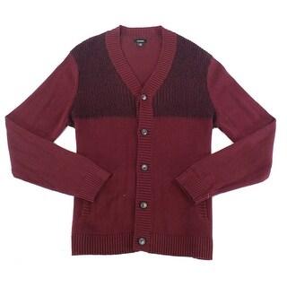 Alfani Red Black Mens Size Medium M Rib-Texture Cardigan Sweater