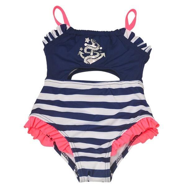 dbdbb8922d Penelope Mack Baby Girls Navy Stripe Anchor Detail One Piece Swimsuit